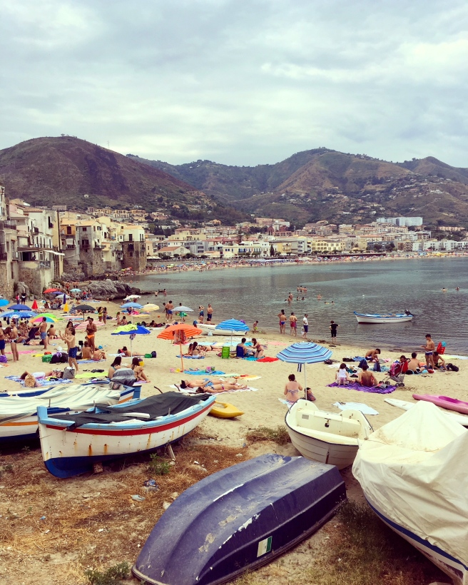 The beach at Cefalu, Sicily